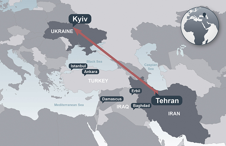 A map that depicts where PS752 was headed from Tehran to Kyiv, Ukraine, on January 8, 2020.
